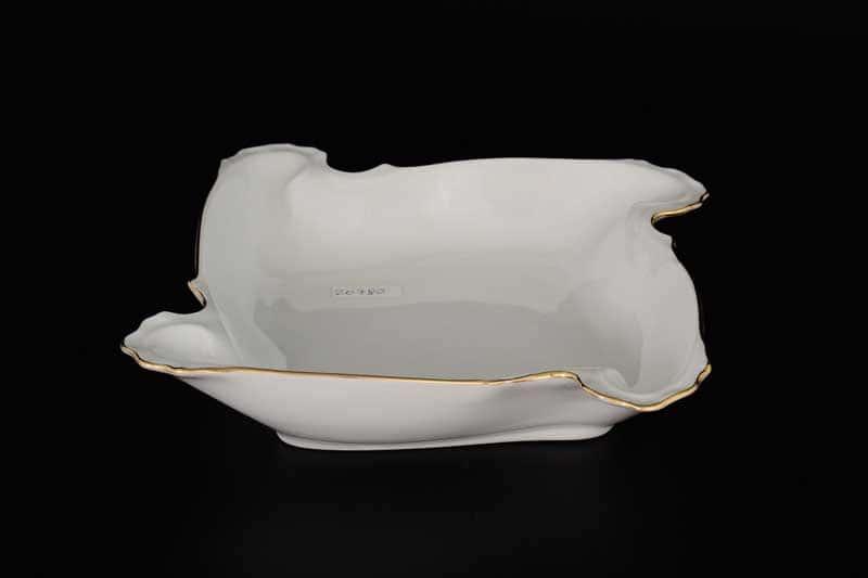 Белый узор Корона Блюдо фигурное квадратное QC 24 см