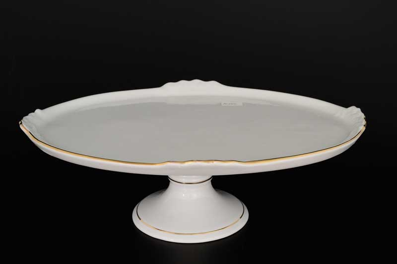 Белый узор Корона Блюдо овальное QC 37 см на ножке
