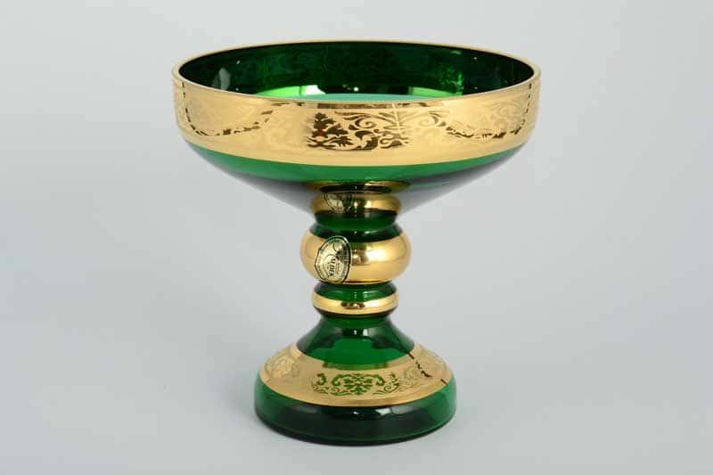 И-В Лепка зеленая Ирка Ваза для конфет Bohemia 13 см