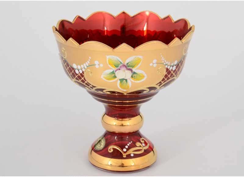 И-В Лепка красная Ирка Ваза для конфет Bohemia 13 см на ножке