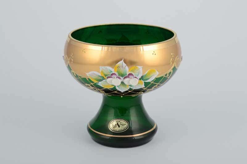 И-В Лепка зеленая Ирка Ваза для конфет Bohemia 12 см на ножке