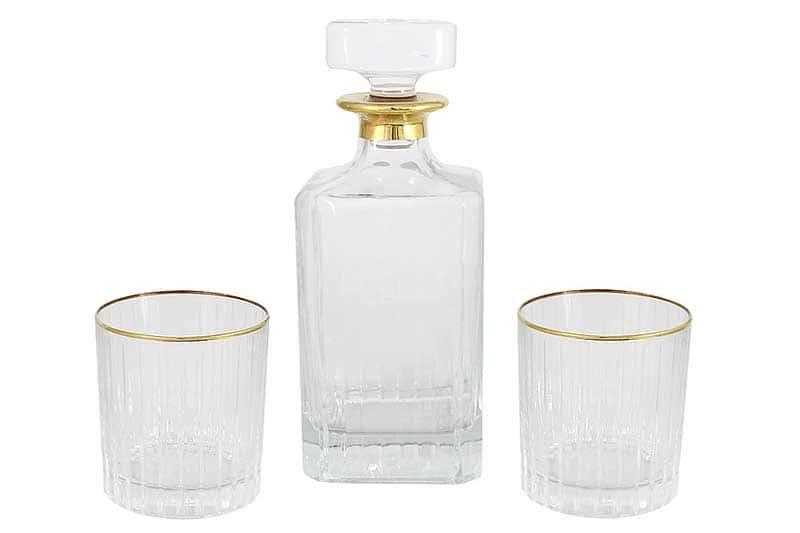 Пиза золото Набор: штоф (0,85 л.) + 6 стаканов для виски (0,25 л.) Same Decorazione Италия