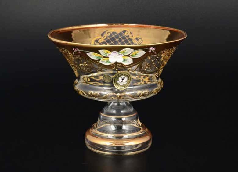 Лепка золото E-V Конфетница Bohemia 15 см  на ножке