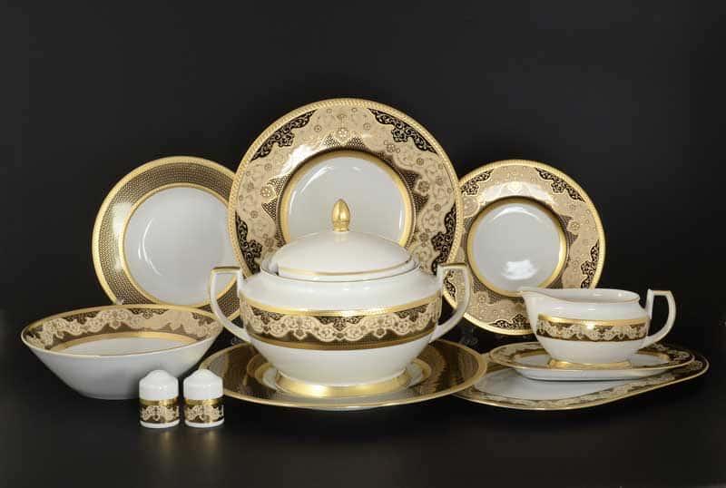 Belvedere Combi BLACK Gold Столовый сервиз Falken на 6 персон 27 предметов