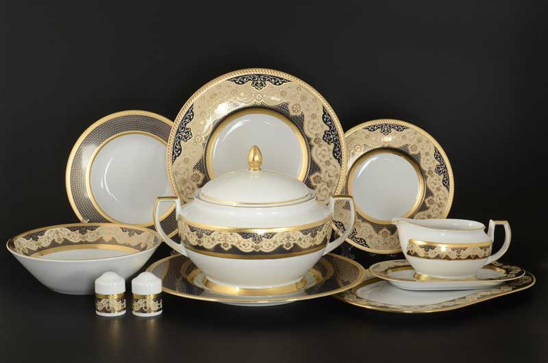 Belvedere Combi BLUE Gold Столовый сервиз Falken на 6 персон 27 предметов