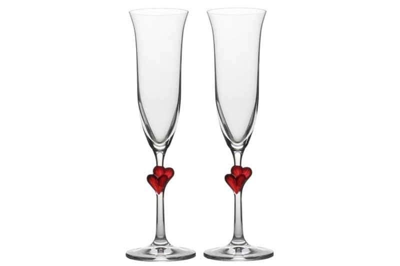 Amour Набор из 2 бокалов для шампанского (красные сердца) Штольцле (Stolzle) из Германии