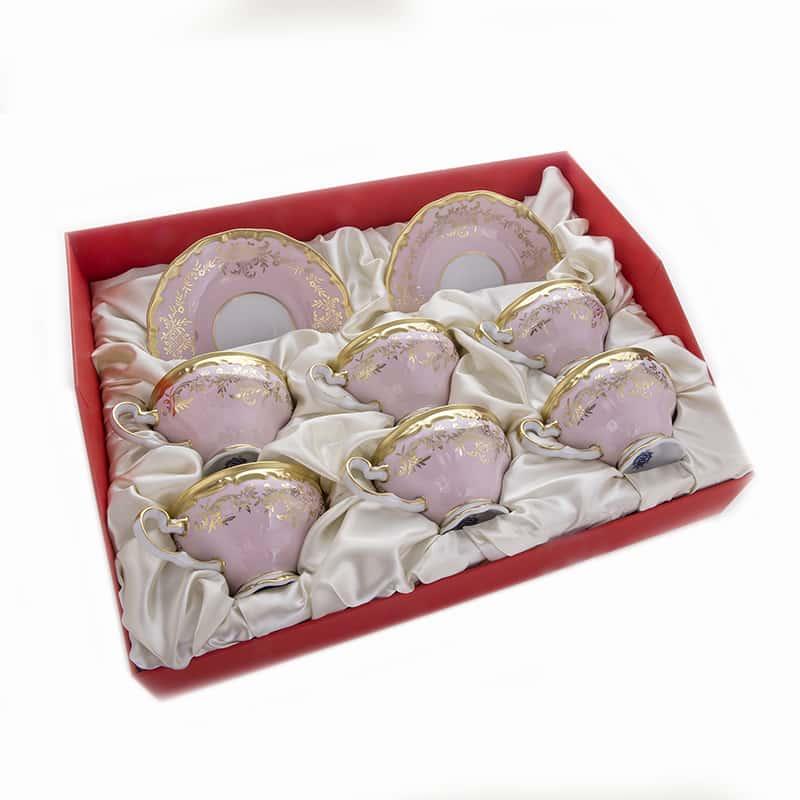 Ювел розовый Набор для чая Weimar  210мл. на 6перс.12пред. подарочный