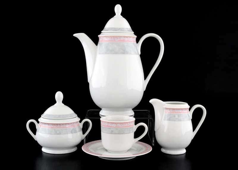Яна Серый мрамор с розовым кантом 3500 Кофейный сервиз Thun на 6 персон 17 предметов