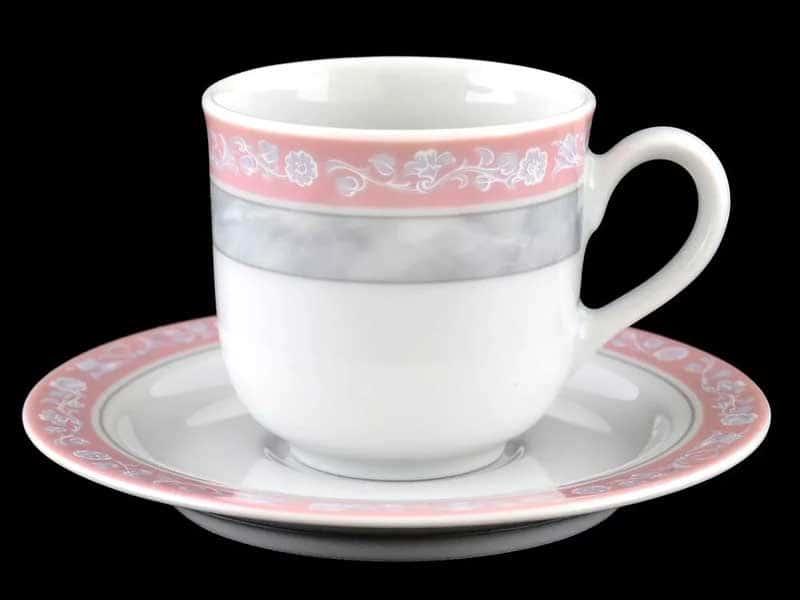 Яна Серый мрамор с розовым кантом 3500 Набор кофейных пар Thun 85 мл