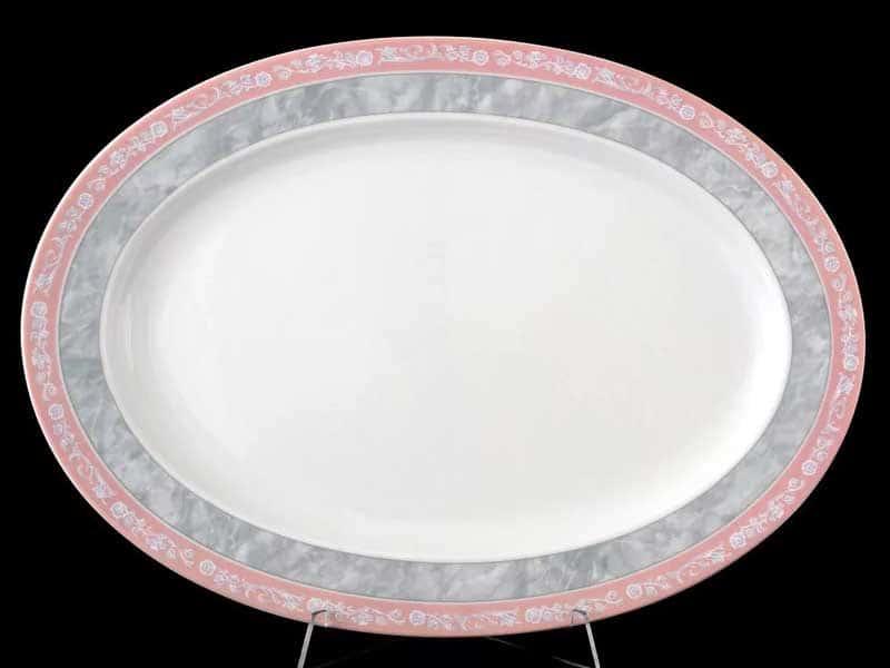 Яна Серый мрамор с розовым кантом 3500 Блюдо овальное Thun 36 см