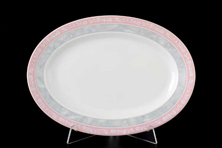 Яна Серый мрамор с розовым кантом 3500 Блюдо овальное Thun 24 см