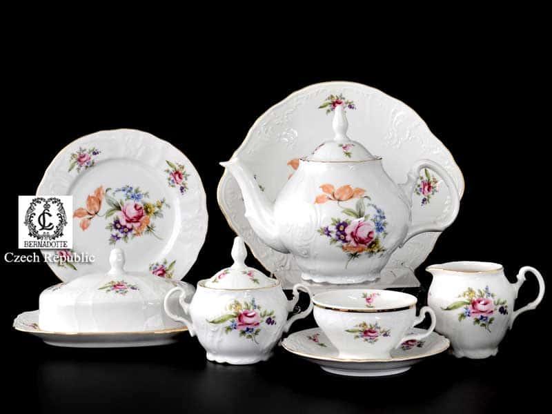 Бернадотт Полевой цветок 9011 Чайный сервиз на 12 персон 43 предмета
