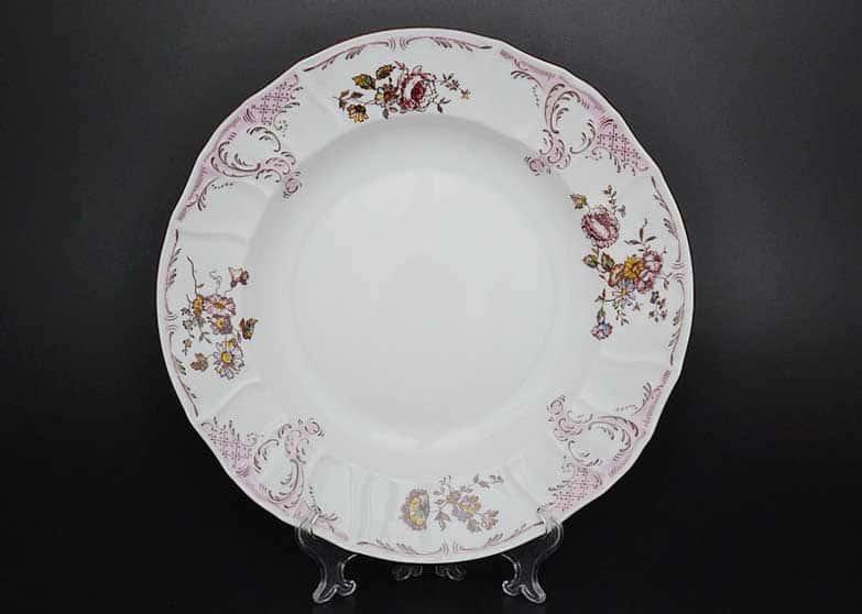 Бернадотт Розовый цветок 25058 Блюдо круглое глубокое 32 см