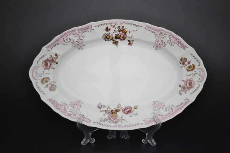 Бернадотт Розовый цветок 25058 Блюдо овальное 34 см