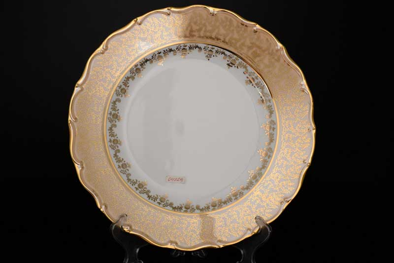 Магнолия Бежевый лист 876 Блюдо круглое MZ 30 см