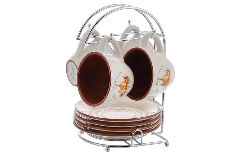 Сардиния Чайный набор: 4 чашки и 4 блюдца на металлической подставке Terracotta Китай