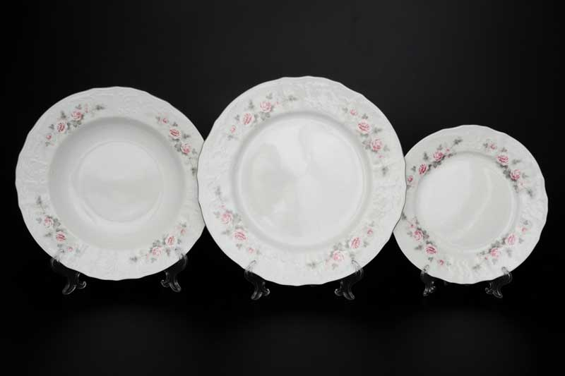 Бернадотт Серая роза платина 96021 Набор тарелок 18 предметов