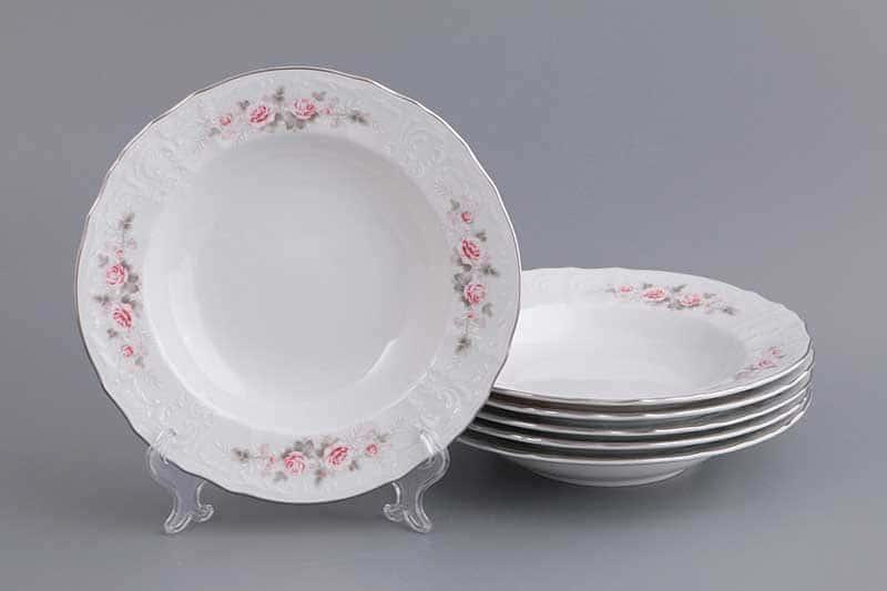 Бернадотт Серая роза платина 96021 Набор тарелок глубоких 23 см