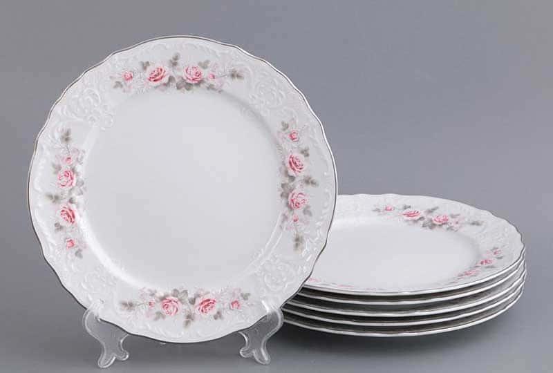 Бернадотт Серая роза платина  96021 Набор тарелок 21 см 23775