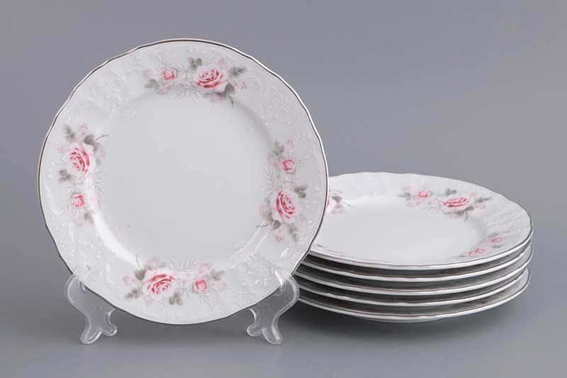 Бернадотт Серая роза платина  96021 Набор тарелок 17 см 17391