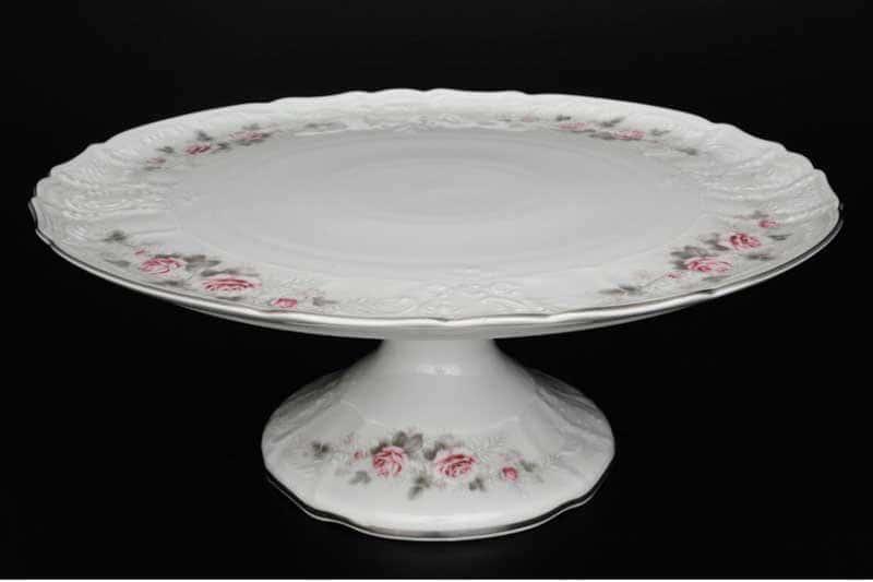 Бернадотт Серая роза платина 96021 Тарелка для торта на ножке 32 см