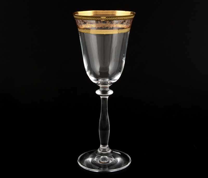 Анжела Золотой лист V-D Набор бокалов для вина Bohemia Crystal 185 мл (6 шт)