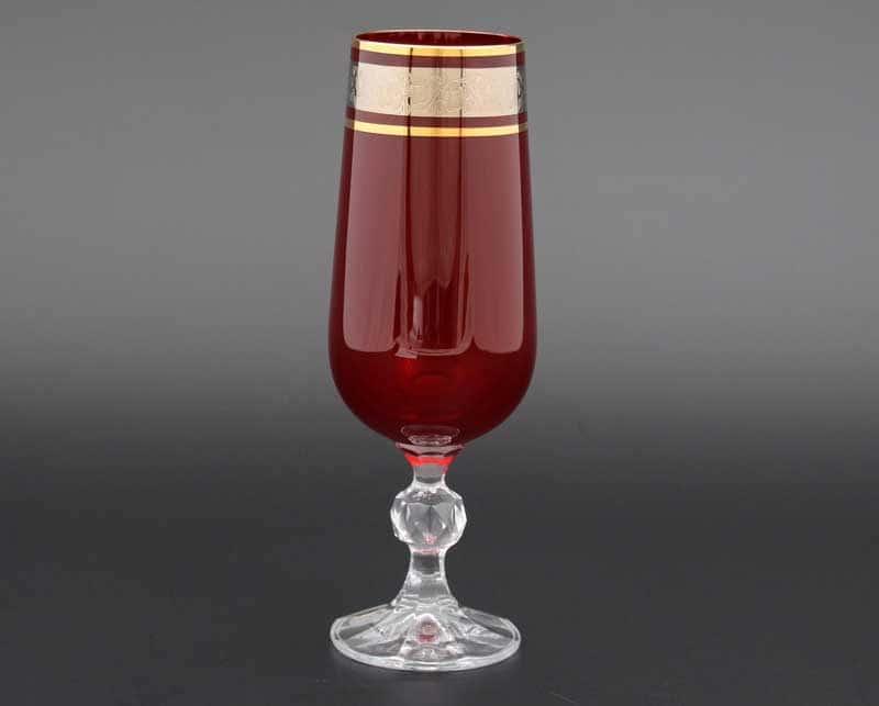Клаудиа платина красный Набор фужеров для шампанского 180 мл (6 шт)