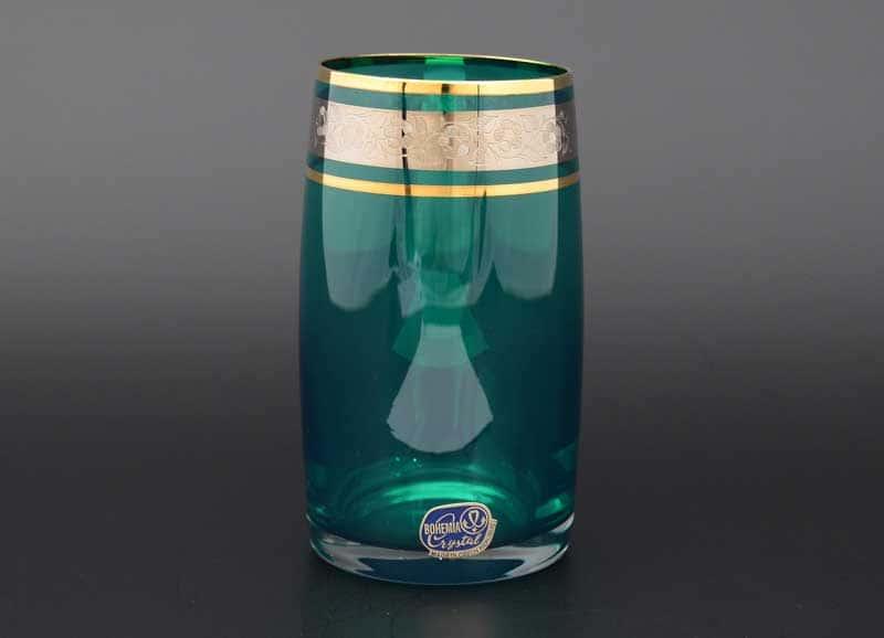 Идеал платина зеленый Набор стаканов для воды  Bohemia Crystal 250 мл (6 шт)