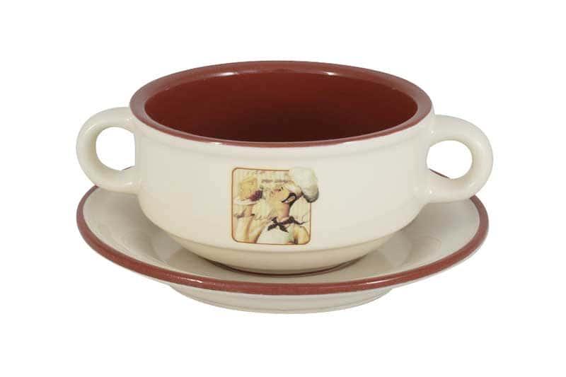 Шеф-повар Суповая чашка на блюдце керамическая Terracotta из Китая