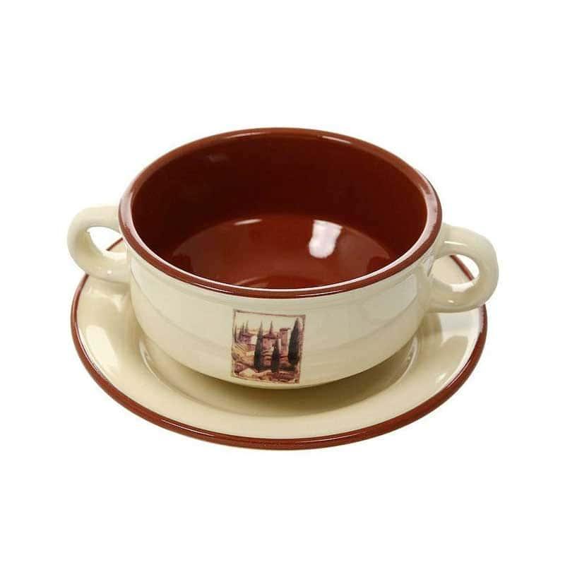 Итальянская деревня Суповая чашка на блюдце Terracotta Китай в подарочной упаковке