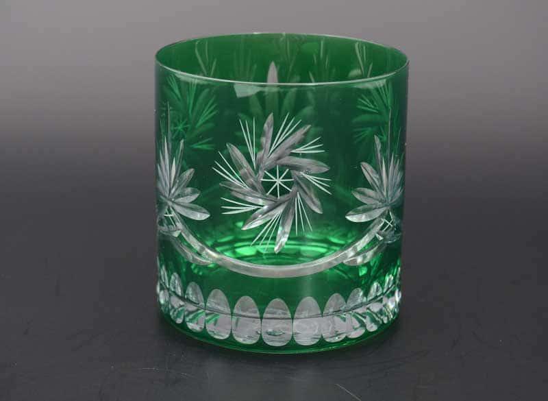 22J29/col 40149 Набор бокалов для виски зеленые из богемского стекла 420 мл