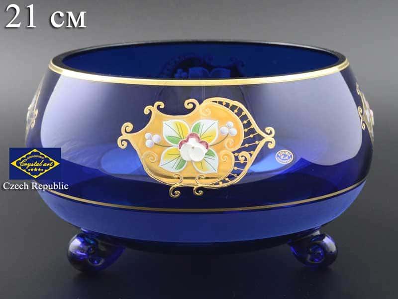 Синяя NB-Arte Тройножка ваза для фруктов Crystal Art 21 см
