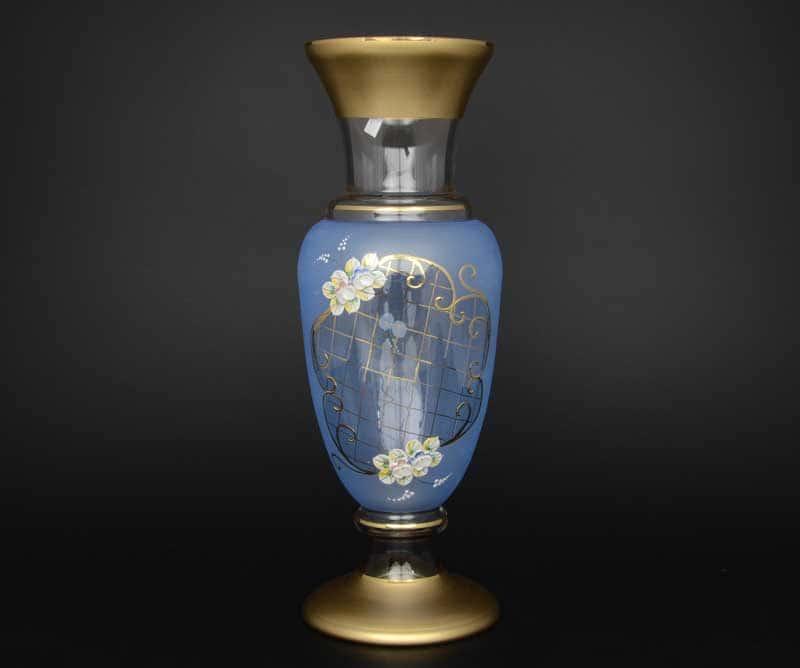 Синяя NB-Arte Ваза для цветов на ножке Crystal Art 40 см