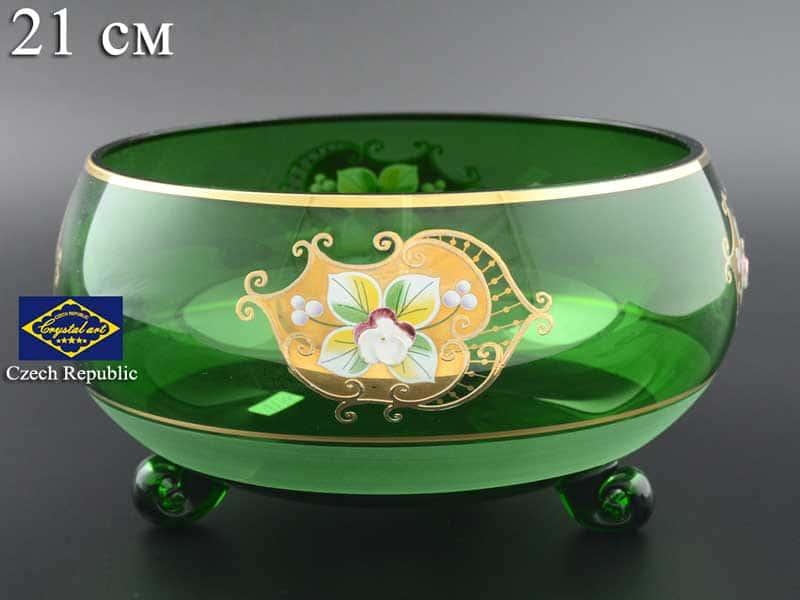 Зеленая NB-Arte Тройножка ваза для фруктов crystal Art 21 см