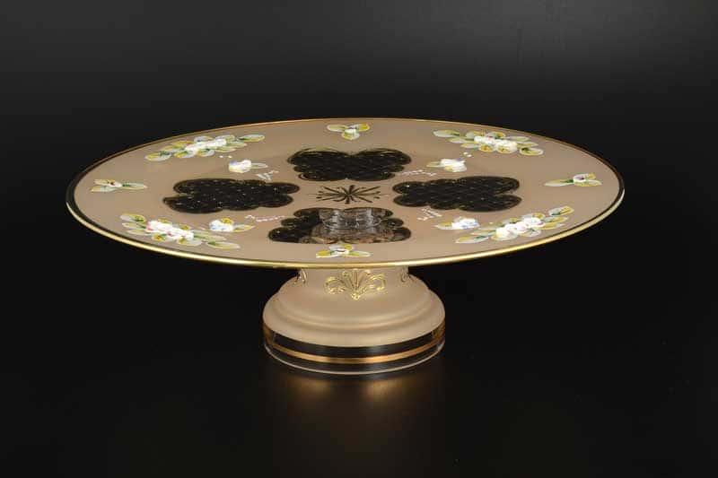 Лепка золотая U-R Тортница 30 см из стекла на ножке