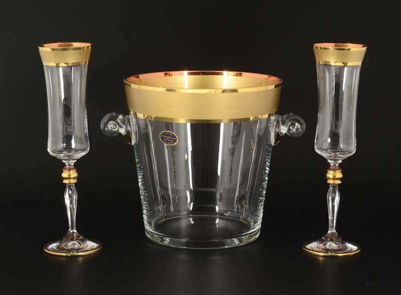 Матовая полоса B-G фон  Набор для шампанского Balvinglass Ведерко+ фужеры 3 пр