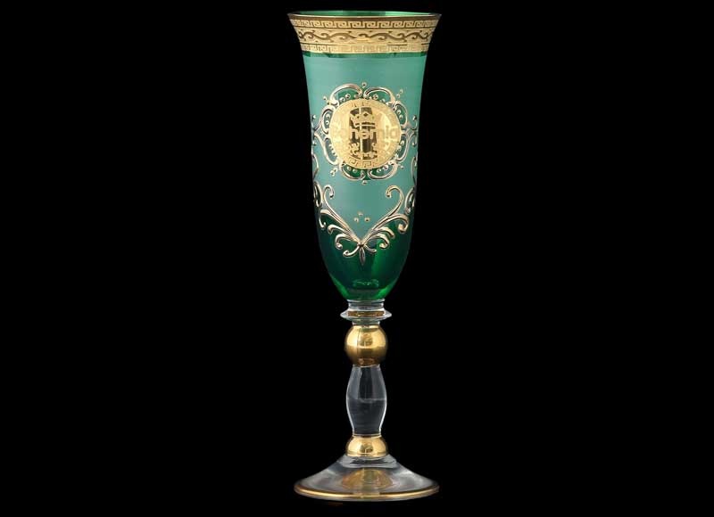 Версаче Богемия B-G Грация зеленая Набор фужеров для шампанского (6 шт)