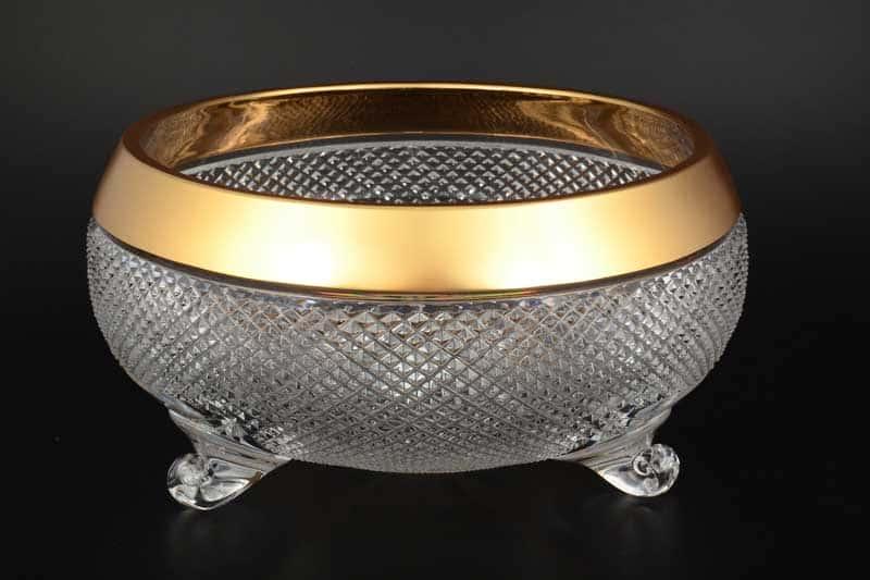 Фелиция Ваза для фруктов Тройножка 31 см Sonne Crystal Золото