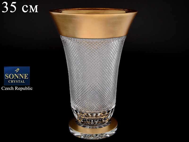 Felicia Ваза для цветов на ножке 35 см Sonne Crystal Золото