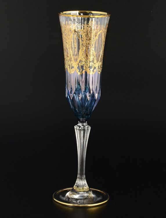 TIMON синий Набор фужеров для шампанского из хрусталя Италия