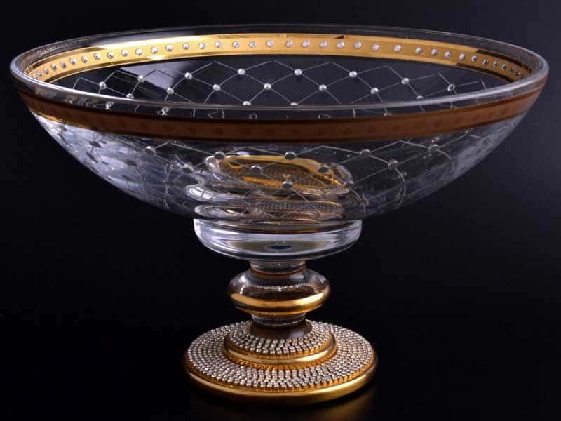 Адоре золото Arium Фруктовница на ножке со стразами