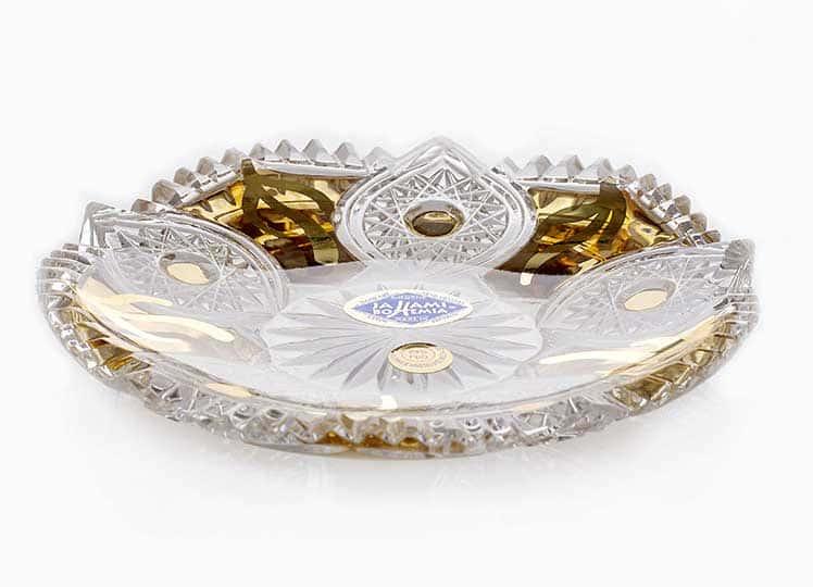 Хрусталь с золотом Набор блюдец Jahamy Bohemia 6 шт. 11,5 см. 41524