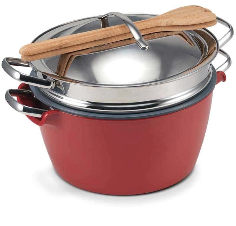Hot Pot (Хот Пот) Набор посуды с керамическим покрытием красная миска с кастрюлей водяная баня Green Pan 22 см.