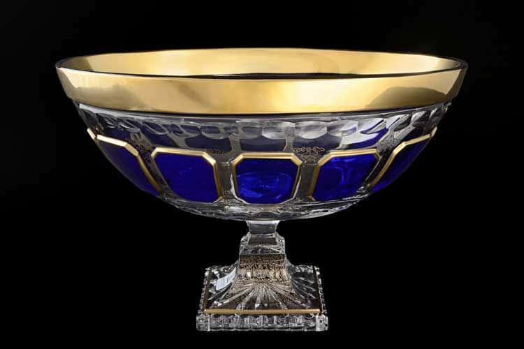 Антик синий Ладья 30 см на ножке Arnstadt Crystal