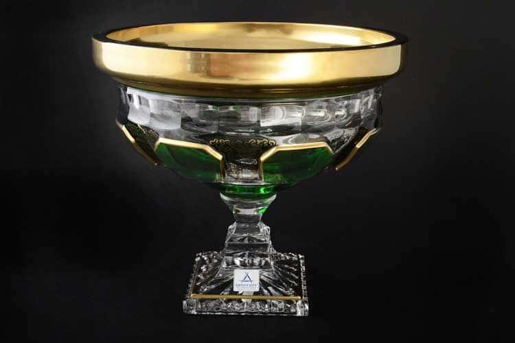 Антик зеленый Фруктовница н/н Arnstadt Crystal 24 см