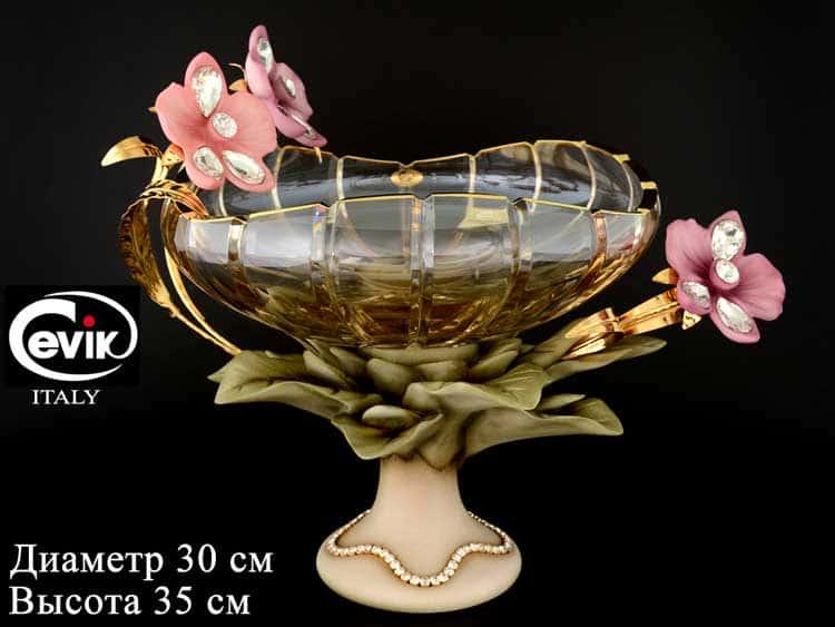 Фруктовница на ножке Cevik group 35 см керамика и стекло