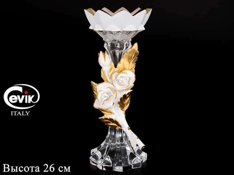 Подсвечник белый с золотом Cevik Group 26 см на 1 свечу