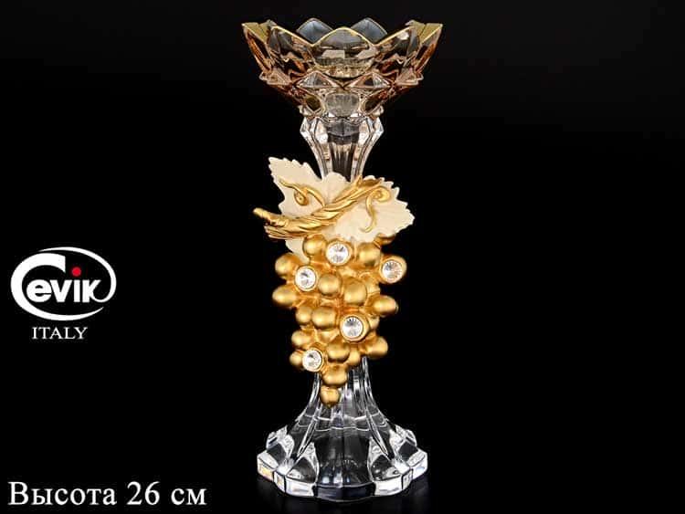 Подсвечник Золотой виноград  Cevik Group 26 см на 1 свечу