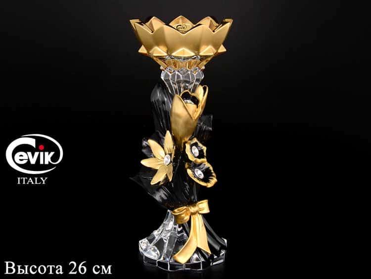 Подсвечник Золотой  Cevik Group 26 см на 1 свечу