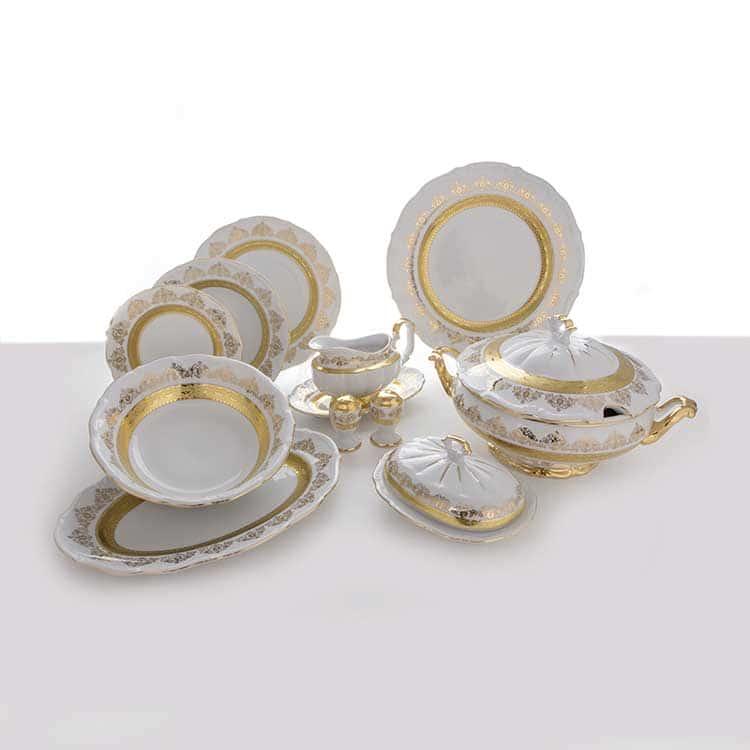 Лист белый Золото Сервиз столовый Bavarian Porcelain на 6 пер. 27 пред.